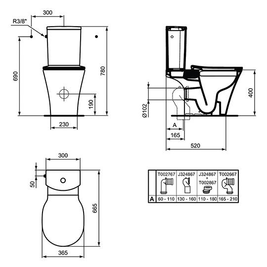 Стояща тоалетна чиния CONNECT AIR, в комплект с казанче и тоалетна седалка