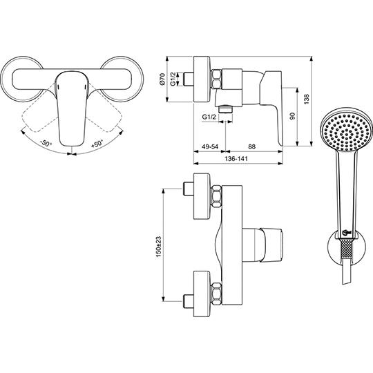 Смесител стенен Ceraplan III за душ с аксесоари
